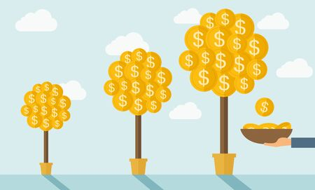 bigger: Three steps in growing a money dollar plant from small to bigger plant in a pot. Financial growth concept.  A contemporary style with pastel palette soft blue tinted background with desaturated clouds. flat design illustration. Horizontal layout.