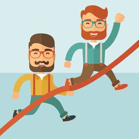 caucasian men: A happy two hipster Caucasian men with beard running to the finish line for meeting the deadline. Winner, victory concept. A contemporary style with pastel palette soft blue tinted background. flat design illustration. Square layout.