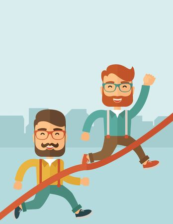 caucasian men: A happy two hipster Caucasian men with beard running to the finish line for meeting the deadline. Winner, victory concept. A contemporary style with pastel palette soft blue tinted background. flat design illustration. Vertical layout with text space on t