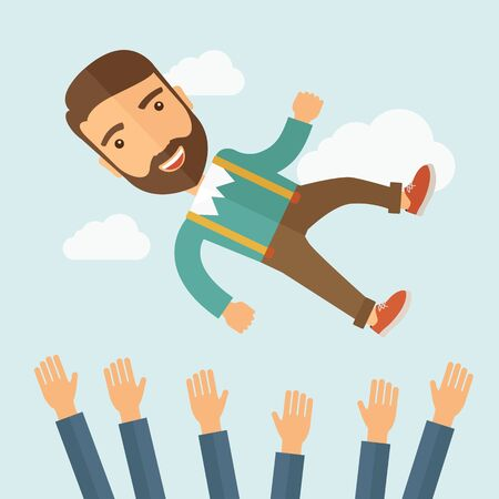 A successful smiling hipster Caucasian businessman with beard being throwing up to the sky by his teamwork or colleague. Happiness concept. A contemporary style with pastel palette soft blue tinted background with desaturated clouds. flat design illustrat