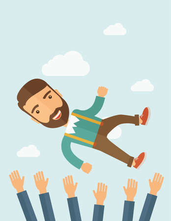 happiness concept: A successful smiling hipster Caucasian businessman with beard being throwing up to the sky by his teamwork or colleague. Happiness concept. A contemporary style with pastel palette soft blue tinted background with desaturated clouds. flat design illustrat