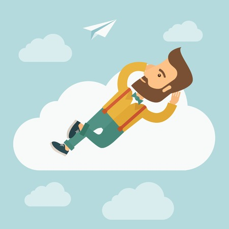 A hipster Caucasian man is relaxing while lying on a cloud. A contemporary style with pastel palette soft blue tinted background with desaturated clouds. flat design illustration. Square layout.