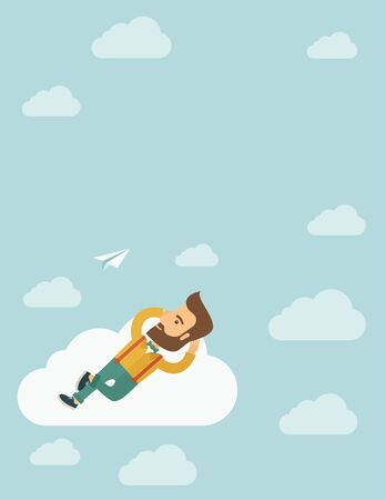 clouding: A hipster Caucasian man is relaxing while lying on a cloud. A contemporary style with pastel palette soft blue tinted background with desaturated clouds. flat design illustration. Vertical layout with text space in the center. Stock Photo