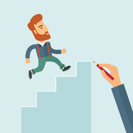 A hand with red pen drawn a hipster Caucasian business man climbing stairs, a concept of success and career. A contemporary style with pastel palette soft blue tinted background. flat design illustration. Square layout with text space on right top part. Stock Photo
