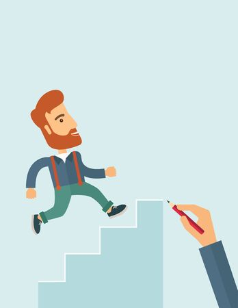 climbing stairs: A hand with red pen drawn a hipster Caucasian business man climbing stairs, a concept of success and career. A contemporary style with pastel palette soft blue tinted background. flat design illustration. Vertical layout with text space in right side.