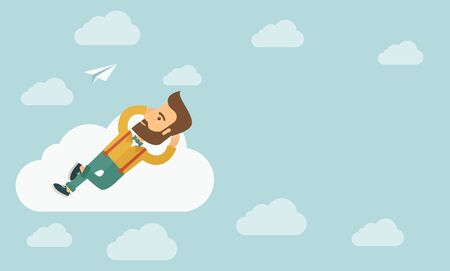 clouding: A hipster Caucasian man is relaxing while lying on a cloud. A contemporary style with pastel palette soft blue tinted background with desaturated clouds. flat design illustration. Horizontal layout with text space in right side. Stock Photo