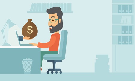 hand with a bag of money: Businessman with beard wearing glasses sitting infront of his table working at a laptop searching and browsing with bag of money on hand inside the office. Business concept. A contemporary style with pastel palette soft blue tinted background. flat design
