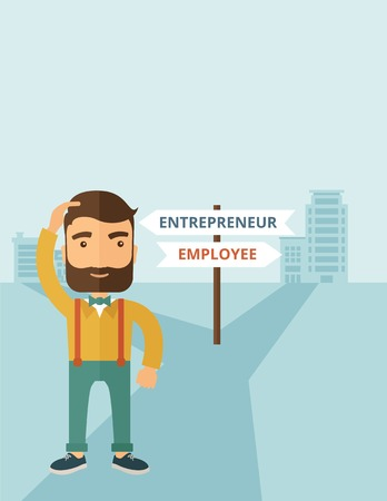 A hipster Caucasian man change career directions employee to entrepreneur street direction a sign of progress a big decision to make in changing direction. Improvement concept. A contemporary style with pastel palette soft blue tinted background. flat des