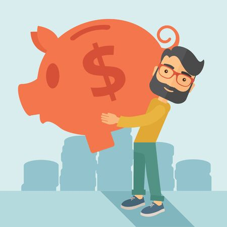 piggybank: Businessman carries on his two arms his big piggy bank for economy purposes saving money is very important. A contemporary style with pastel palette soft blue tinted background. flat design illustration. Square layout. Stock Photo