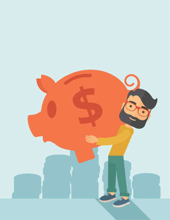 easy money: Businessman carries on his two arms his big piggy bank for economy purposes saving money is very important. A contemporary style with pastel palette soft blue tinted background. flat design illustration. Vertical layout with text space on top part. Stock Photo