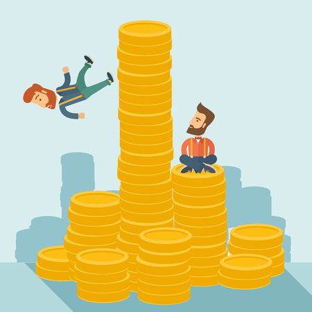 high up: Happy businessman sitting with self confidence on the top of a coin while competitor feel sad on his falling down from higher piled coin as a symbol of unsuccessful business. A contemporary style with pastel palette soft blue tinted background. flat desig Stock Photo