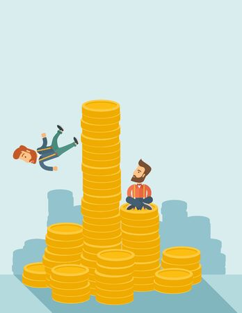 competitor: Happy businessman sitting with self confidence on the top of a coin while competitor feel sad on his falling down from higher piled coin as a symbol of unsuccessful business.A contemporary style with pastel palette soft blue tinted background. flat design
