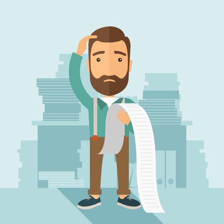 A sad hipster Caucasian man with beard standing holding a paper feels headache and worries about paying a lot of bills. Problem, worries concept. A contemporary style with pastel palette soft blue tinted background. flat design illustration. Square layout Reklamní fotografie