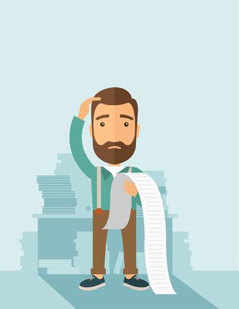 悲しいヒップスターひげ立って紙頭痛を感じているし、たくさんの法案を支払うことについて心配を保持している白人男性。問題は、心配の概念。パステル カラーのパレット ソフト青染められた背景と現代的なスタイル。フラットなデザイン イラスト。垂直 layo 写真素材 - 62821886
