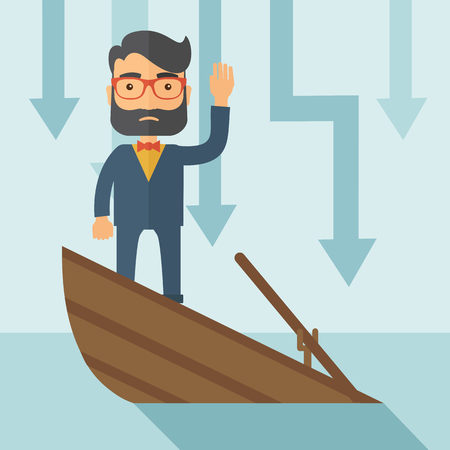 A sad man with beard wearing eyeglasses standing on a sinking boat with those arrows on his back pointing down symbolize that his business is loosing. He needs help. A contemporary style with pastel palette soft blue tinted background. flat design illustr