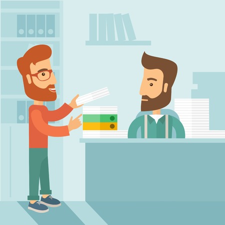 A man giving a paper work to do to other man, stressful man in office with stack of paper on his desk. Business concept in overload work and very busy. A contemporary style with pastel palette soft blue tinted background. flat design illustration. Square