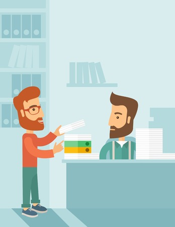 overload: A man giving a paper work to do to other man, stressful man in office with stack of paper on his desk. Business concept in overload work and very busy. A contemporary style with pastel palette soft blue tinted background. flat design illustration. Vertica