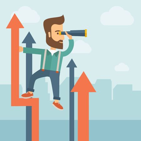 self development: A businessman with beard stand on top of graph arrow using his telescope looking how high he is. Business success, self development concept. A Contemporary style with pastel palette, soft blue tinted background with desaturated clouds. flat design illustr