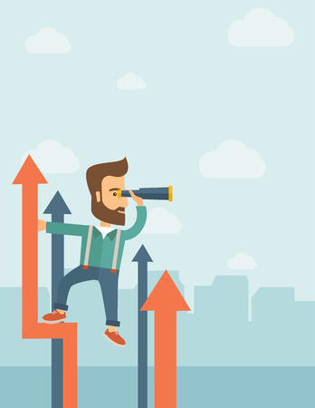 A businessman with beard stand on top of graph arrow using his telescope looking how high he is. Business success, self development concept. A Contemporary style with pastel palette, soft blue tinted background with desaturated clouds. flat design illustr