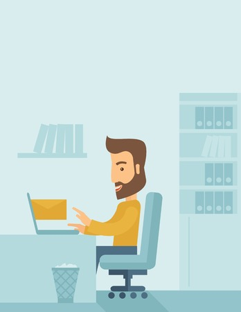 chat room: Young happy Caucasian man sitting infront of a table with computer laptop and thinking what to write in e-mail inside his office. A Contemporary style with pastel palette, soft blue tinted background. flat design illustration. Vertical layout with text sp Stock Photo