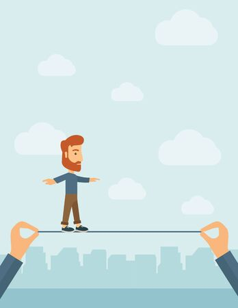 high tension: A Caucasian businessman walking on wire stretched by two hands balancing himself to achieve his goal in marketing. Determination and great achievement concept. A Contemporary style with pastel palette, soft blue tinted background with desaturated clouds.