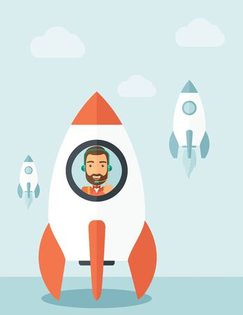 illustratio: A man with beard is happy inside the rocket it is a metaphor for starting a business, new beginning. On-line start up business concept.  A Contemporary style with pastel palette, soft blue tinted background with desaturated clouds. flat design illustratio