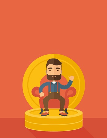pastel like: A successful businessman with beard smiling while sitting like a king on a heap of money. Achievement concept. A Contemporary style with pastel palette, orange tinted background. flat design illustration. Vertical layout with text space on top part.