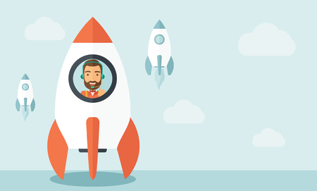 A man with beard is happy inside the rocket it is a metaphor for starting a business, new beginning. On-line start up business concept.  A Contemporary style with pastel palette, soft blue tinted background with desaturated clouds. flat design illustratio