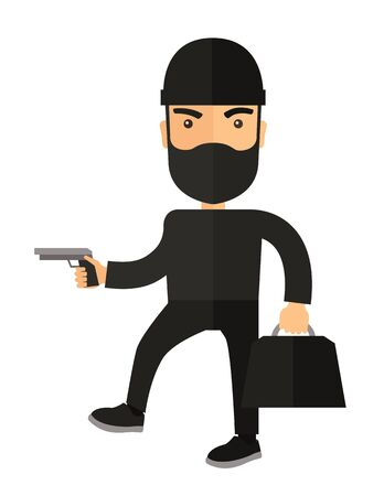 criminal: A man wearing black with mask to disguise. Criminal, illegal concept. A Contemporary style. flat design illustration isolated white background. Vertical layout.