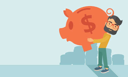 easy money: Businessman carries on his two arms his big piggy bank for economy purposes saving money is very important. A contemporary style with pastel palette soft blue tinted background. flat design illustration. Horizontal layout with text space in left side.