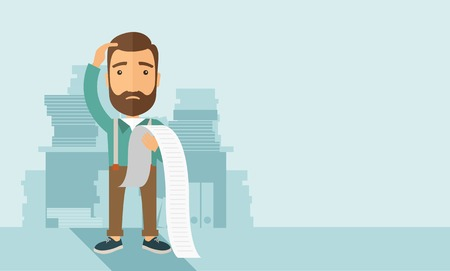paying bills: A sad hipster Caucasian man with beard standing holding a paper feels headache and worries about paying a lot of bills. Problem, worries concept. A contemporary style with pastel palette soft blue tinted background. flat design illustration. Horizontal la