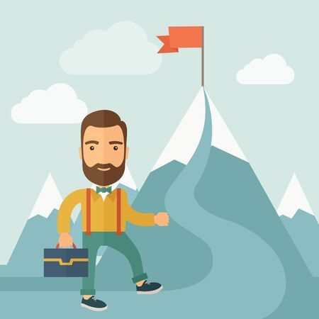 attain: The man with a beard carrying a suitecase climbing a mountain to attain success. Success concept.  flat design Illustration.