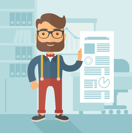 the reporting: The man with a beard in eyeglasses working at the office presenting his report. Infographic reporting concept.  flat design illustration. Stock Photo