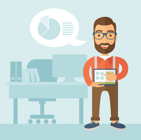 The man with a beard in glasses holding a tablet and standing beside his table. Presentation concept.  flat design illustration.