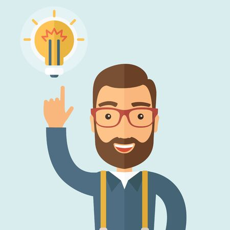 caucasian men: Enthusiastic young hipster Caucasian men with beard who have a good business idea. Delivering a business idea concept. flat design illustration.