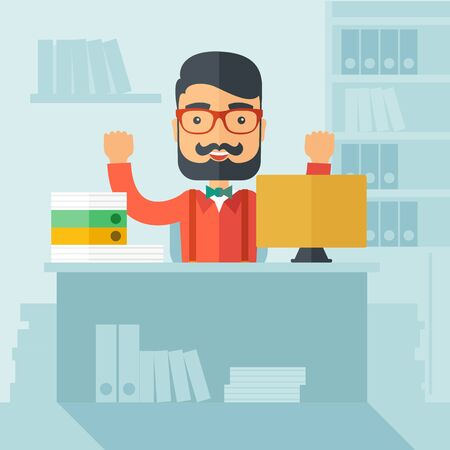 overwork: The man with a beard in glasses working on his desk at the office. Successful working concept.  flat design Illustration.