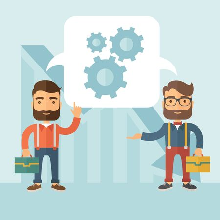 Two businessmen with beards working and planning things together. Business idea concept.  flat design Illustration.
