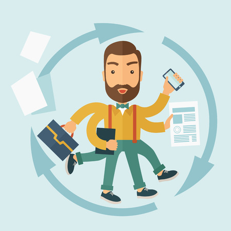 The man with a beard doing a lot of things at the same time. The multitasking concept. flat design Illustration. Imagens