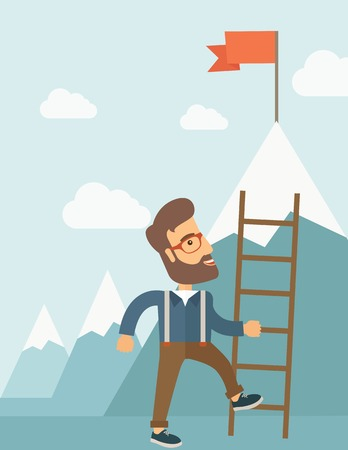 coordination: A businessman standing while holding the career ladder getting the red flag his reach his goal to be a successful businessman. Leadership concept. A contemporary style with pastel palette soft blue tinted background with desaturated clouds. flat design il