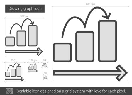 scalable: Growing graph vector line icon isolated on white background. Growing graph line icon for infographic, website or app. Scalable icon designed on a grid system.