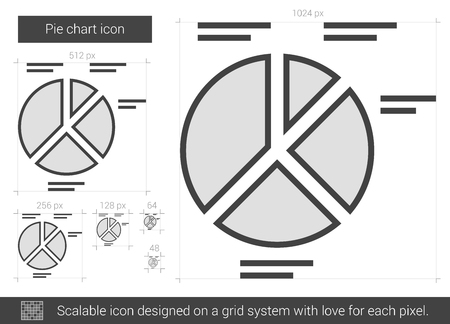 Pie chart vector line icon isolated on white background. Pie chart line icon for infographic, website or app. Scalable icon designed on a grid system. Ilustração