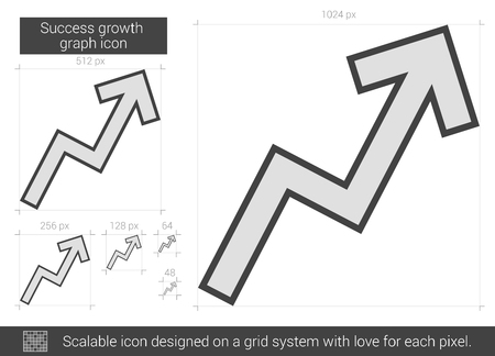 upward movements: Success growth chart vector line icon isolated on white background. Success growth chart line icon for infographic, website or app. Scalable icon designed on a grid system.