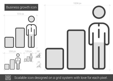 Business growth vector line icon isolated on white background. Business growth line icon for infographic, website or app. Scalable icon designed on a grid system.