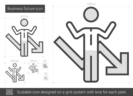 helpless: Business failure vector line icon isolated on white background. XXX line icon for infographic, website or app. Scalable icon designed on a grid system.