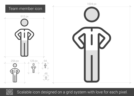 Team member vector line icon isolated on white background. Team member line icon for infographic, website or app. Scalable icon designed on a grid system. Vectores