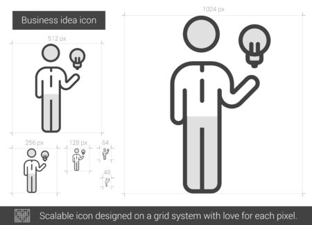 scalable: Business idea vector line icon isolated on white background. Business idea line icon for infographic, website or app. Scalable icon designed on a grid system. Illustration