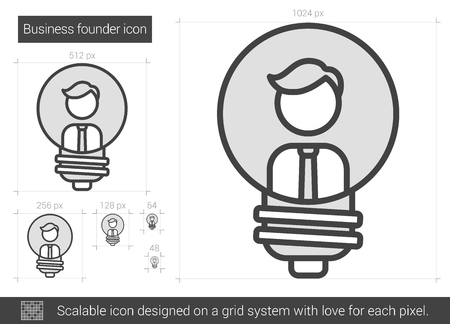 scalable: Business founder vector line icon isolated on white background. Business founder line icon for infographic, website or app. Scalable icon designed on a grid system. Illustration