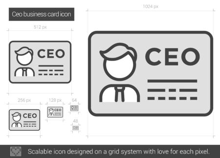 ceo: CEO business card vector line icon isolated on white background. CEO business card line icon for infographic, website or app. Scalable icon designed on a grid system.