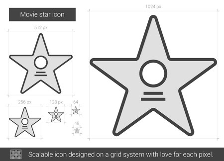 Movie star vector line icon isolated on white background. Movie star line icon for infographic, website or app. Scalable icon designed on a grid system. Illusztráció
