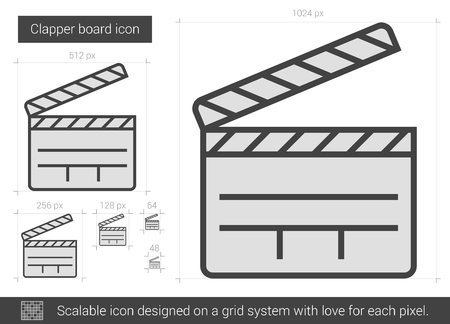 scalable: Clapper board vector line icon isolated on white background. Clapper board line icon for infographic, website or app. Scalable icon designed on a grid system.